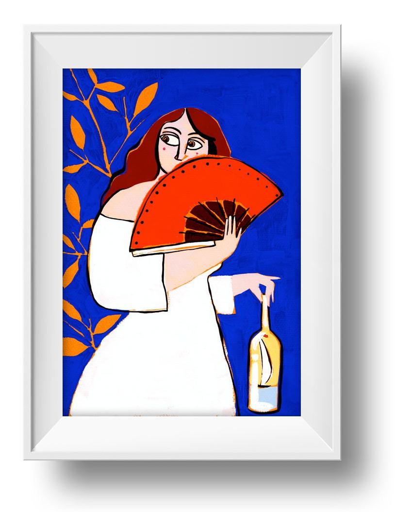 Ilustracion Abanico y botella