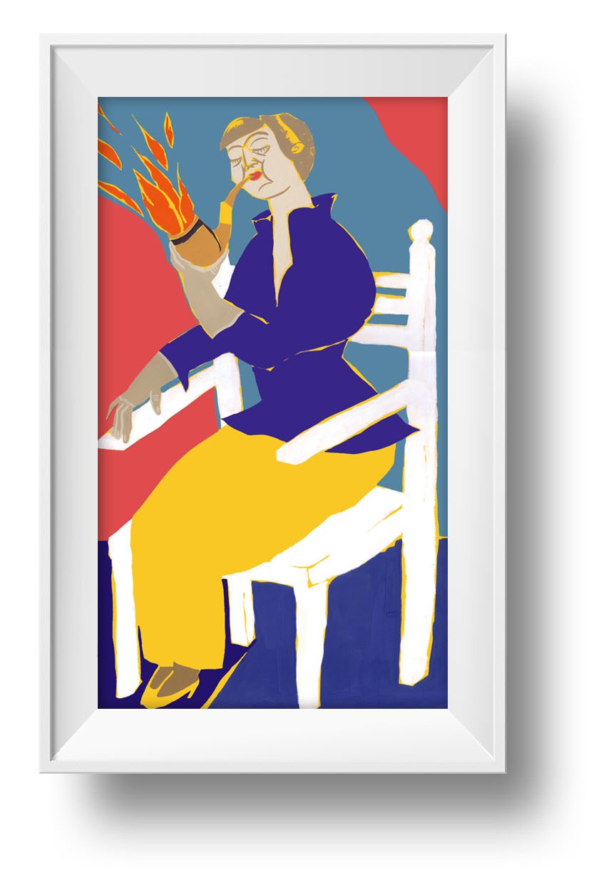 Ilustracion Mujer con pipa