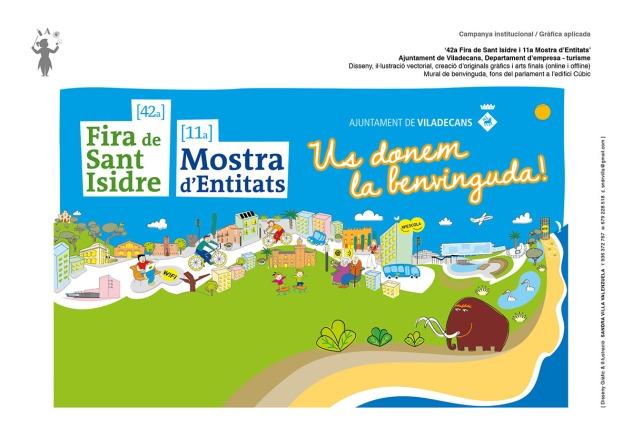 '42a Fira de Sant Isidre i 11a Mostra d'Entitats' Ajuntament de Viladecans, Departament d'empresa - turisme Disseny, il·lustració vectorial, creació d'originals gràfics i arts finals (online i offline) Mural de benvinguda, fons del parlament a l'edifici Cúbic